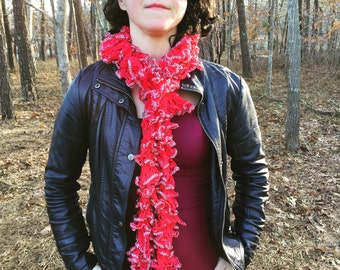 The Burlesque - Handknit Pink and Silver Sparkle Ruffle Fashion Scarf