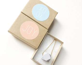 Mini geometric wooden necklace in pale pastel lilac - matt finish