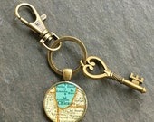 Chicago Keychain Bronze with Ring Swivel Clasp and Key Vintage Map Style B