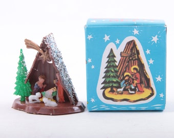 Dollhouse, Doll House Miniature, Teeny Tiny Nativity, Christmas, Decoration, Belen, Box, In Package, 1960s, Glitter ~ The Pink Room ~ 170127