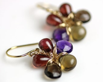 Garnet Amethyst Smoky Quartz Flower Earrings