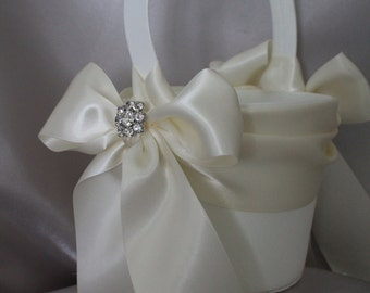 WHITE or IVORY  Satin Flower Girl Basket with Satin Sash and Satin Bows/Rhinestone Accent