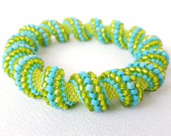 Going Green Cellini Spiral Beadwoven Bangle Bracelet