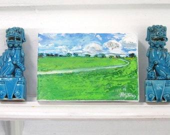 China Sea Sky original acrylic mixed media landscape painting by Polly Jones