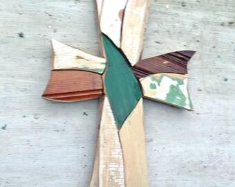Rustic Mosaic Cross, Reclaimed Wood Cross, Religious Decor,Boho Cross Christian Wall Art Wood Wall Cross Wood Wall Art Bohemian Decor