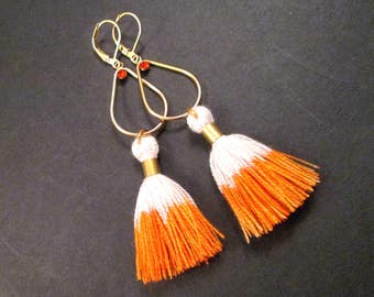 Tassel Earrings, Orange and White Ombre and Red Glass Rhinestones, Long Gold Dangle Earrings, FREE Shipping U.S.