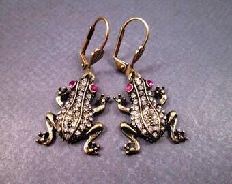 Frog Earrings, Elegant Amphibian, White and Pink Glass Rhinestones, Brass Dangle Earrings, FREE Shipping U.S.
