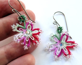 Lace earrings tatted snowflake red and green hypoallergenic