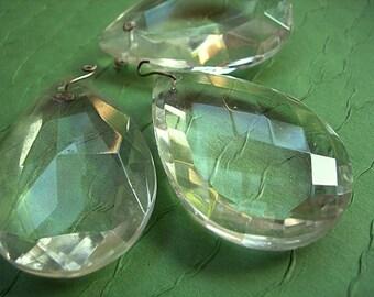 """Vintage Glass Chandelier Teardrop Pendants Drops lot of 3 clear 2"""" tall x 1-3/8"""" wide"""