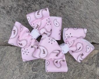 Pink Paisley Hair Bows,Pigtail Hair Bows,Toddler Hair Bows,French Barettes,4 Inch Hair Bows,Pink Paisley