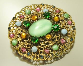 Vintage/ estate 1940s Czech style, filigree and green pink paste/ glass, costume brooch/ pin - jewelry jewellery