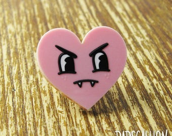 Vampire Heart Pink Lapel Pin