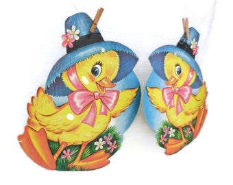 Vintage Easter Spring Duck Die Cut Dennison  Wall or Window Decoration