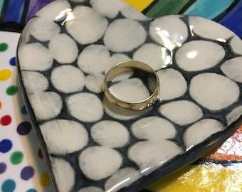 Ceramic Stoneware Trinket Ring Dish Heart Black and White Bubbles Ready to Ship TNK0007