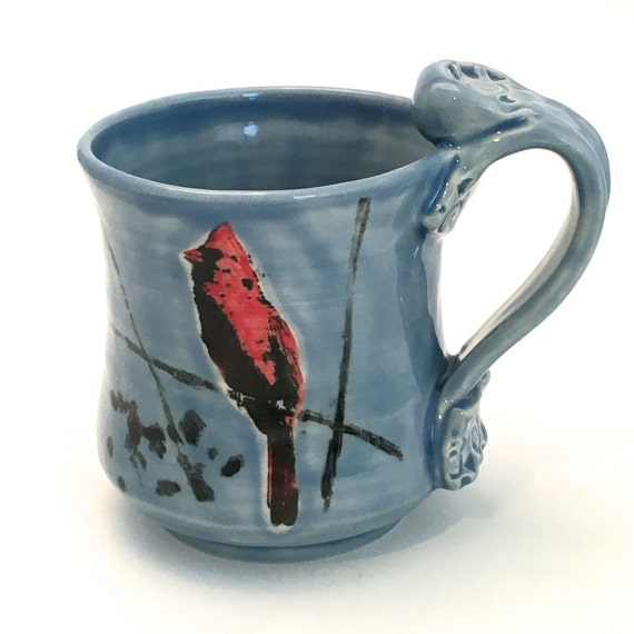 Ceramic Mug Cardinal Bird Handmade Handpainted On Sky Blue 12 Ounces MG001 Made to Order Teacup Coffee Cup Wheel Thrown