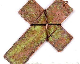 Hand Forged Rustic Copper Cross Pendant Component F0451
