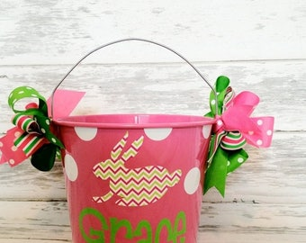 ON SALE personalized Easter bunny bucket with a patterned bunny