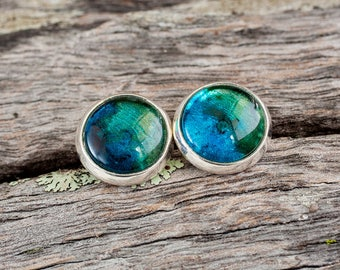 Hand painted blue and green stud post earrings