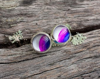 Hand painted pink, purple and silver stud post earrings