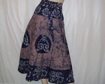 India Batik Wrap Skirt Vintage Hippie Boho Indigo Purple Cotton A-line Batik Elephant Summer Glamping Gypsy Cruise Resort Adult Wrap Skirt