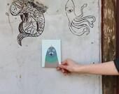 Unicorn pigeon postcard, 4.1''x5.8''