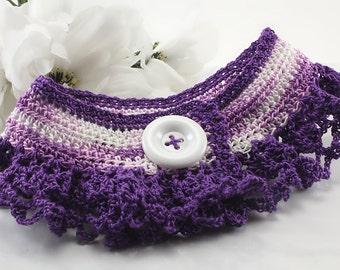 Purple Lace Dog Collar, Crochet Puppy, Dog, Cat Collar, Pet Accessory, Pet Portrait Prop