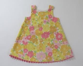 Pastel Watercolor Floral Girls' Dress, Baby Dress, Toddler Dress, Easter Dress, Girls' Pinafore, Sizes Newborn to Girls' size 6
