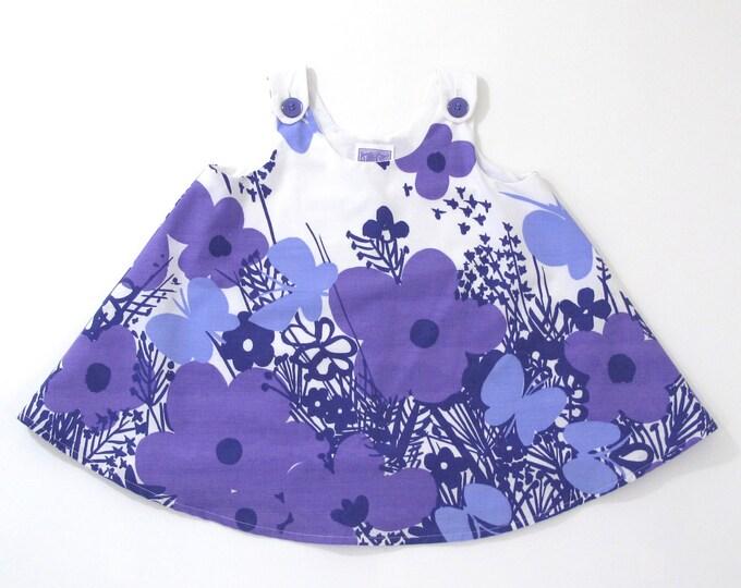 Purple Floral Butterflies Girls' Dress, Toddler Dress, Vera Neumann Textile, Girls' Pinafore, Girls' Sundress, A-line Swing Dress, Size 2T