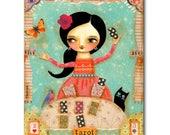 TAROT CARD READER gypsy woman Original Painting Mixed media collage black cat folk art psychic fortune teller art by Tascha