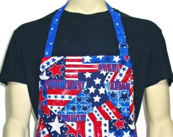 American Flag Apron , Professional Chef Style , Stars and Stripes , Red White and Blue , Adjustable with pocket / Patriotic Kitchen decor