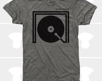Listen Round Men TShirt | Turntable Record DJ Music Tee | Music Gift | Gift for Men | Gift for Boyfriend | Gift for Husband | Gift for Son