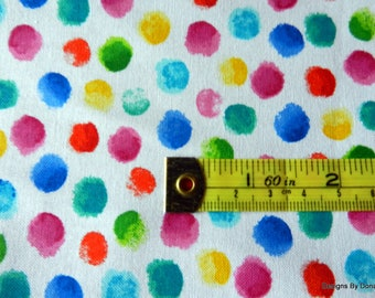 One half Yard Cut Quilt Fabric, Fingertip Painted Bright Colorful Dots from Hi-Fashion Fabrics, Sewing-Quilting-Craft Supplies
