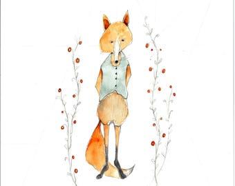 Fox print 8x10 print Woodland animal rustic farmhouse fox in Garden - fox art print gardening fox portrait