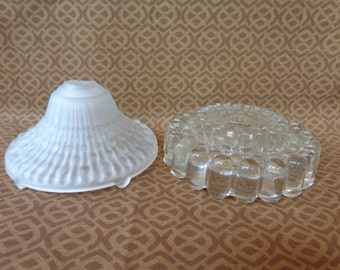 Vintage Used Pair of Frosted & Clear Glass Lamp Light Fixture Base Spacer Parts