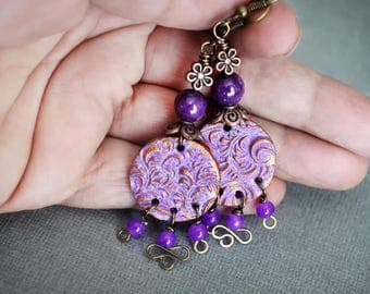 Bohemian Artisan Earrings. Lovely purple shades polymer clay beads. Brass and copper findings.