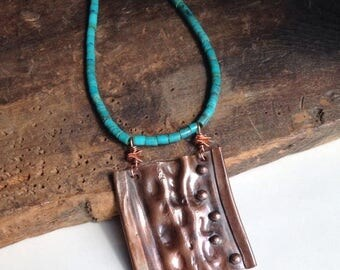 MARCH MADNESS SALE Copper Air Chased Pendant, Metalwork Necklace, Turquoise Heishi Beads, Southwest, Hammered Metal, Etsy, Etsy Jewelry