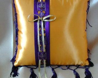 Harvest Gold & Aubergine/Wine Purple Beaded Fringe Ring Pillow•Fall Leaves Ring Pillow•Autumn Wedding•Fall Wedding•Ring Bearer•Ring Barer•