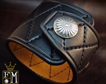 Black Leather Cuff Custom Quilted harlequin Handstitched Luxury wristwear made for YOU in NYC by Freddie Matara