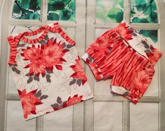 baby summer shorts - floral baby short set - coral floral set - you pick size - infant short set - sleeveless tank and shorts - floral set