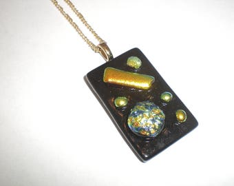 SALE Dichroic pendant, fused glass pendant, black and blue and gold dichroic pendant