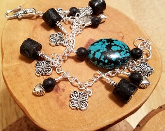Black lava and blue howlite (faux turquoise) cha cha chain bracelet ... and it's adjustable too!