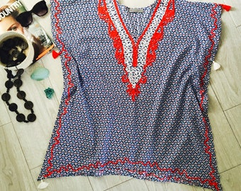 CAPRI Embroidered Modern Beach Kaftan Resort Tassel Summer Cover-up Dress Cotton Tunic Blue Red Indigo One Size Fits All