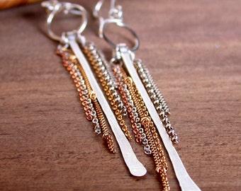 Mixed Metal Bar and Fringe Earrings. Hammered Bar Earrings. Bar and Chain Earrings. Slender and Sleek Earrings.