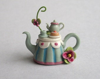 Handmade Miniature Fairy Whimsy Blossom Vine Tea Table Teapot by C. Rohal