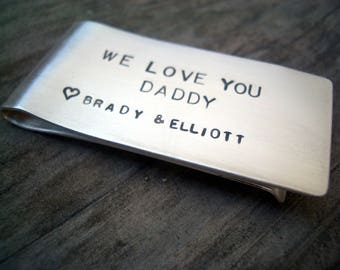 Personalized Hand Stamped Sterling Money Clip by donnaodesigns