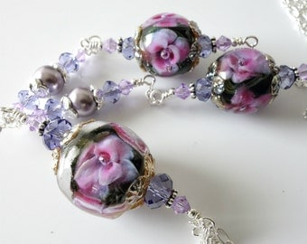 Lampwork Necklace, Purple and Pink Flowers, Floral, Pendant Necklace, Silver Chain Necklace, Beaded Jewelry, Beaded Lampwork Necklace, OOAK