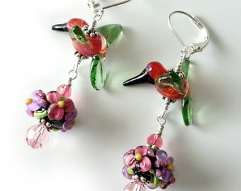 Lampwork Hummingbird Earrings, Cranberry and Green, Floral Lampwork, Flowers, Silver Earrings, Pink, Lavender, Beaded Earrings, Birds, OOAK