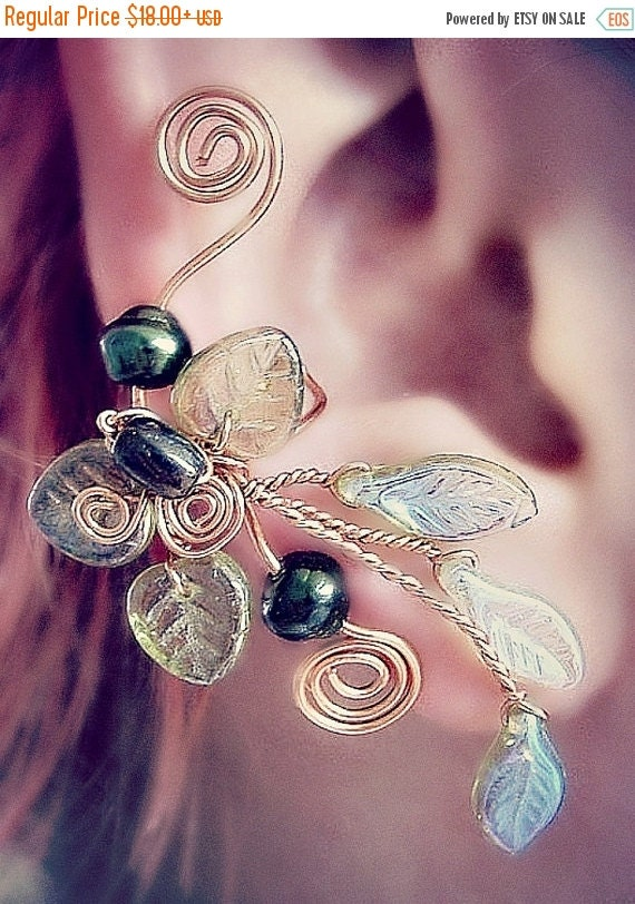 ON SALE Ear Cuff Lothlorien Spring Forest Elven Ear Wrap, No Piercing, Fantasy Fairy Jewelry, Gift Idea, bridal ear cuff