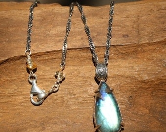 Teardrop Labradorite pendant necklace in silver bezel and prongs setting with silver beads and citrine on the side on oxidized silver chain