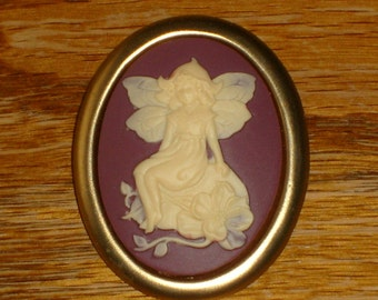 Matte Fairy brooch (purple and gold)